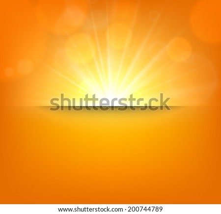 Orange abstract blurry background with sun lens flare. Vector illustration.