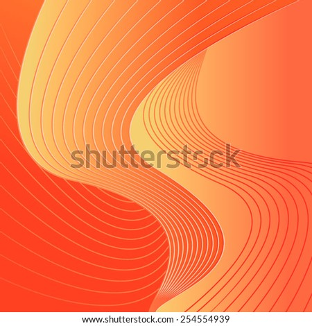 Orange abstract composition lines - stock vector