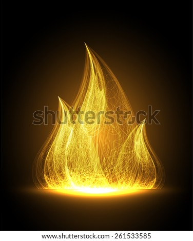 orange Abstract fire flames on a black background. Colorful vector illustration - stock vector
