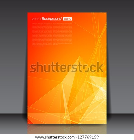 Orange Abstract Lines Flyer Template for You | EPS10 Background - stock vector