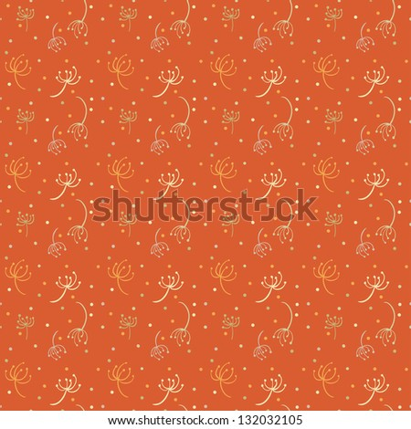 Orange abstract seamless pattern with colored dandelions- vector - stock vector