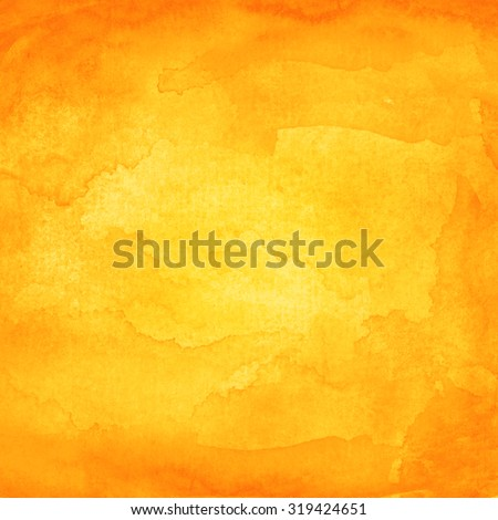 Orange abstract watercolor macro texture background. Colorful handmade technique aquarelle. Blank color backdrop painting in square size. Vector illustration graphic design element save in EPS 10 - stock vector