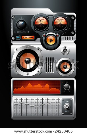 Orange Analog MP3 Player - stock vector