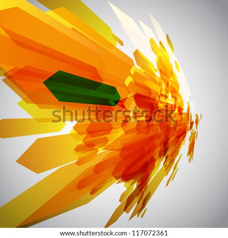 Orange and a green arrow in motion vector - stock vector