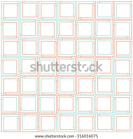 orange and aqua, teal repeating squares composed of arrows on transparent background, vector pattern. - stock vector
