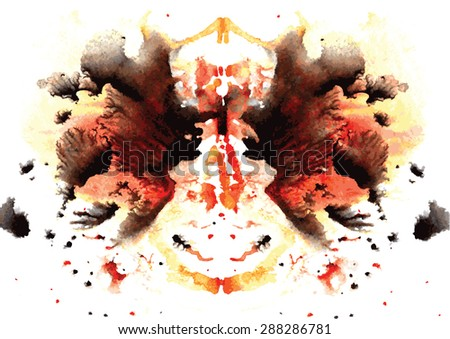 orange and black watercolor symmetrical Rorschach blot on a white background - stock vector