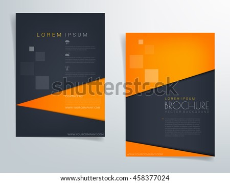 orange and blue black brochure template flyer background and header design triangle paper element with space