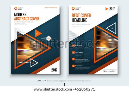 Orange Blue Brochure Design Corporate Business Stock