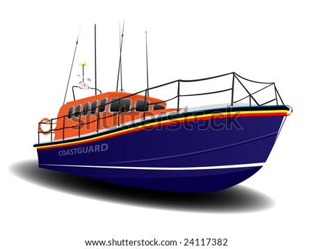 Orange and Blue Coastguard Lifeboat Illustration over White - stock vector