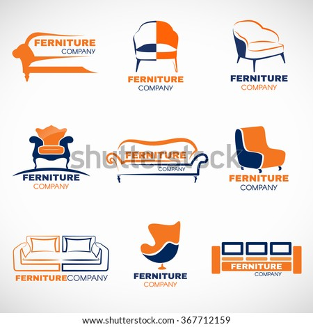 Orange and blue furniture logo vector set design