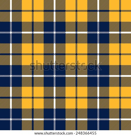 orange and blue  tartan fabric texture in a square pattern seamless vector illustration
