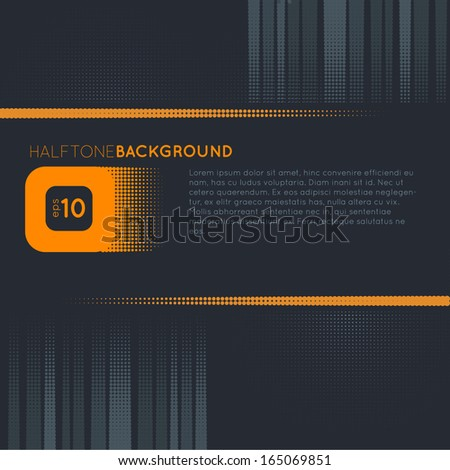 Orange and gray halftone background - stock vector