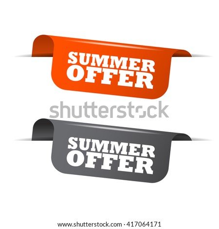 Orange and gray vector illustration isolated sticker banner summer offer two versions. This element is well adapted to web design. - stock vector