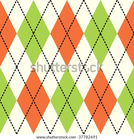 Orange and green argyle seamless background pattern - stock vector