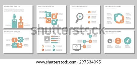 Orange and green multipurpose presentation template brochure flyer flat design set for marketing and advertising 1 - stock vector