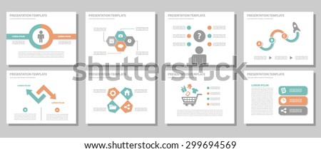 Orange and green multipurpose presentation template brochure flyer flat design set for marketing and advertising 3 - stock vector