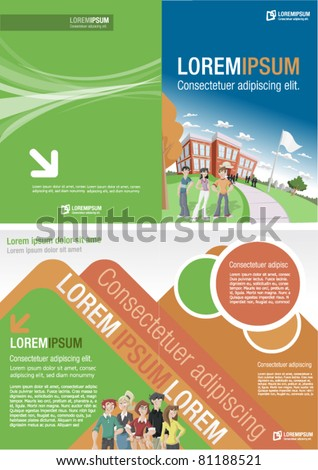 Orange and green template for advertising brochure with students in front of  school - stock vector