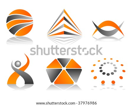 Orange and Grey Abstract Vector Icon Design Element Set - stock vector