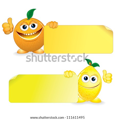 Orange and Lemon. Funny Fruits with Blank Sign. Vector Cartoon Illustration - stock vector