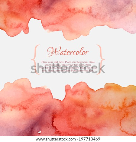 Orange and pink abstract pastel watercolor frame - stock vector