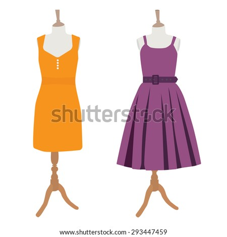 Orange and purple summer dress on mannequin vector illustration. Woman dress. Cocktail dress