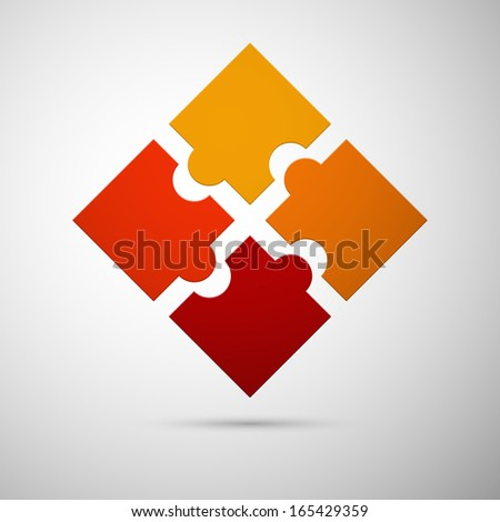 orange and red colored puzzle infographic concept with shadow - stock vector