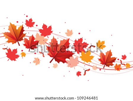 Orange and red fall design element with maple leaves and seeds - stock vector