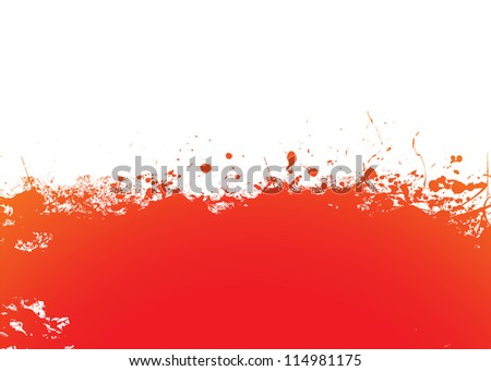 Orange and red ink splat banner background - stock vector