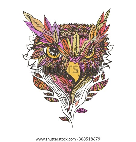 Orange and red owl isolated, sketch. Abstract vector bird with leaves. Print for t-shirt. Wild things.