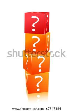 orange and red stack of cubes with question mark isolated on white background - stock vector