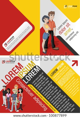 Orange and red template for advertising brochure with teenager students - stock vector