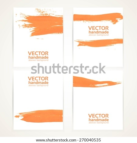 Orange and white brush texture and circles hand drawing on banner set - stock vector