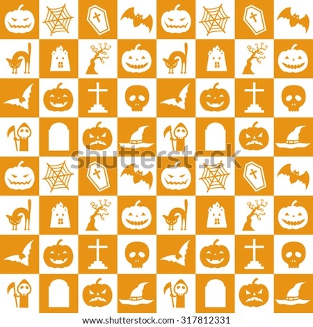 Orange and white halloween pattern with pumpkin, bat, spider web and etc - stock vector