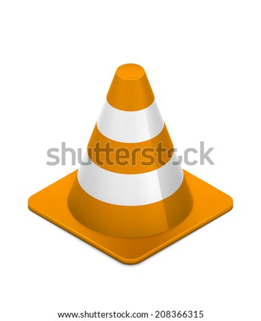 Orange and white isometric caution cone isolated on white. Realistic eps10 vector illustration. - stock vector