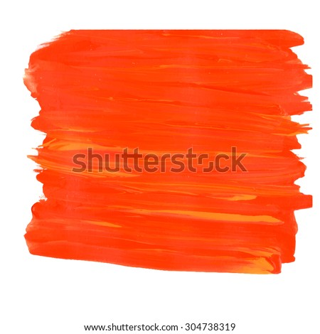 Orange and yellow Brush stroke. EPS 8. Acrylic paint stain. Acrylic brush texture isolated on white. Abstract. Colorful template.  - stock vector