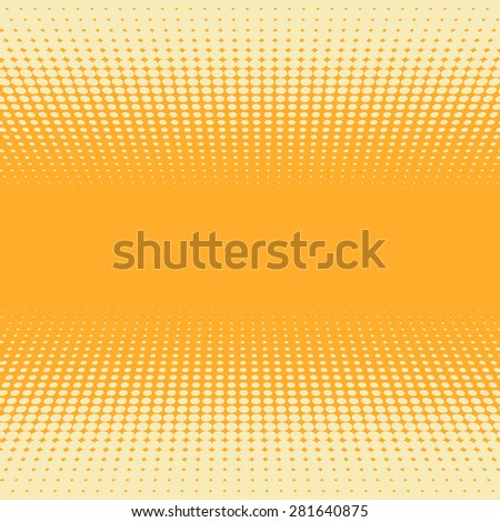 Orange and yellow 3D perspective halftone vector background. - stock vector
