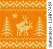 Orange and yellow humorous sweater with deer vector seamless pattern - stock photo