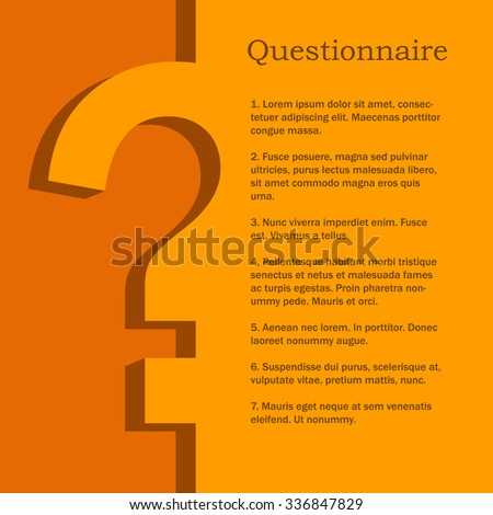 Orange and yellow questionnaire flat design vector template with copy space. - stock vector