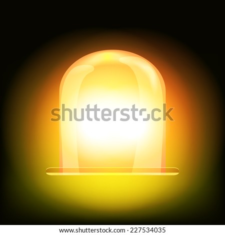 Orange and yellow spinning and glowing flasher for car or vehicle roof. Warning signal - stock vector