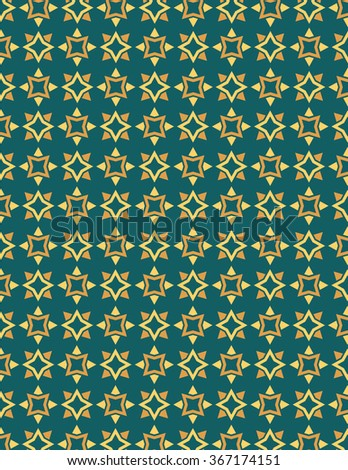 Orange and yellow star pattern over green color background - stock vector