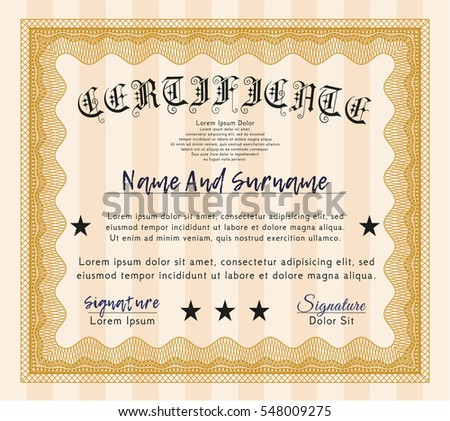 Orange Awesome Certificate template. Money Pattern. With great quality guilloche pattern.