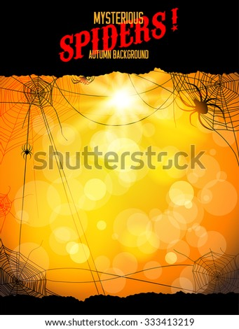 Orange backdrop with spiders and web. Design for card, banner, invitation, leaflet and so on. - stock vector