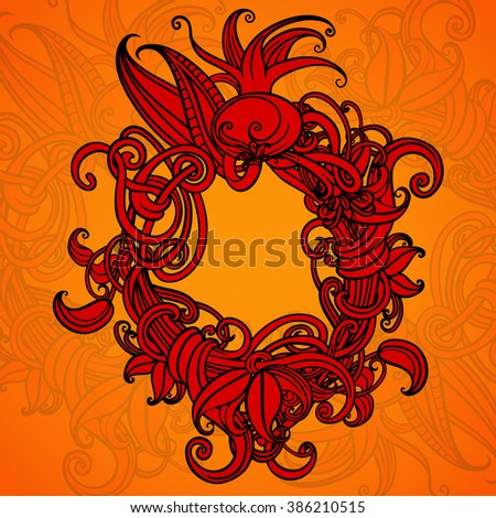Orange background. Cover. Card. A wreath of flowers. Vegetation element. Circuit. Vector graphics. Central composition. Decorative frame. - stock vector