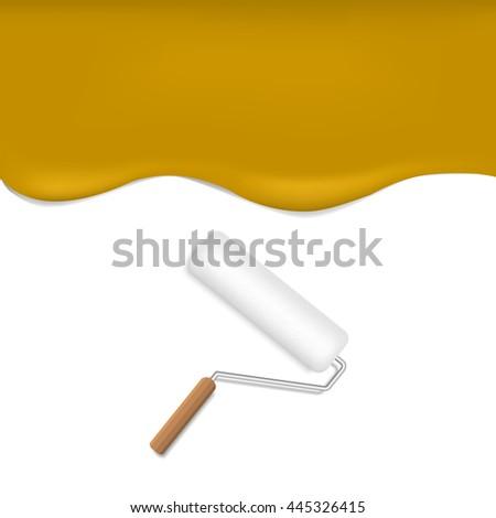 Orange background. Orange paint. Orange wallpaper. Realistic roller brush - stock vector