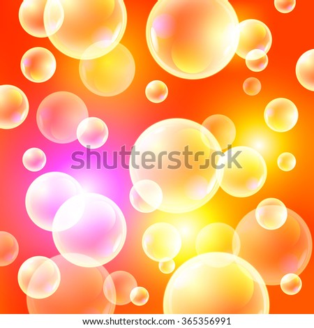 Orange background, sunny vector illustration. soap bubbles on a orange background art - stock vector