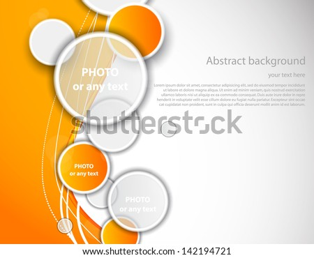 Orange background with circles - stock vector
