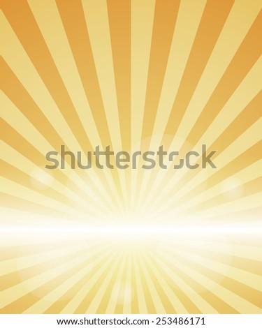 orange Background With Sunburst. Vector Illustration - stock vector