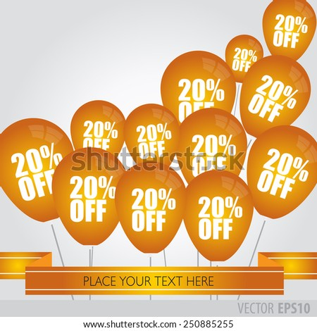 Orange balloons With Sale Discounts 20 percent.