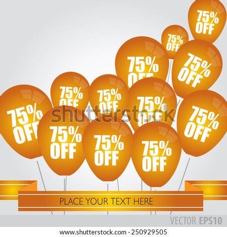Orange balloons With Sale Discounts 75 percent.