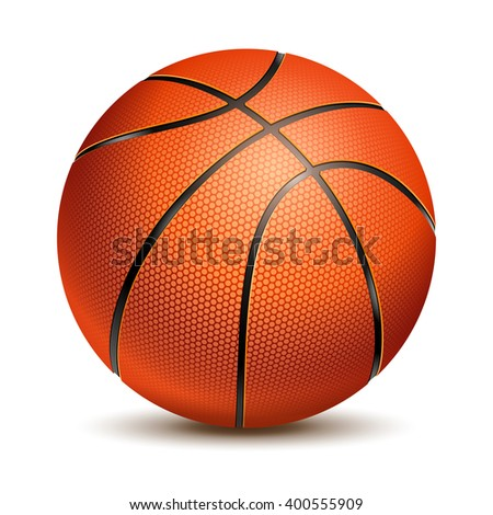 Orange Basketball Ball with Pimples and Shadow. Realistic Vector Illustration. Isolated on White Background. - stock vector